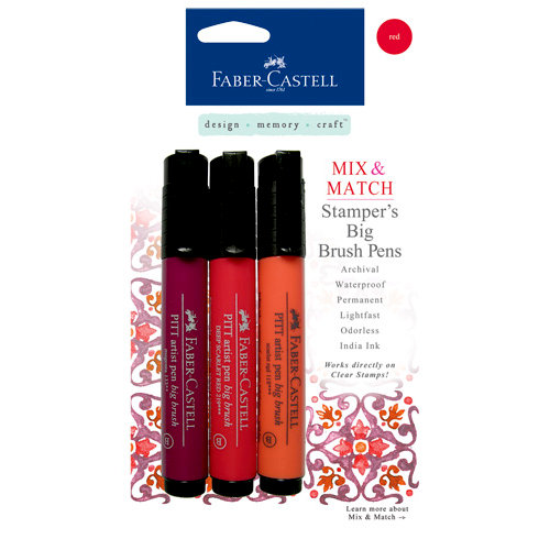 Faber-Castell - Mix and Match Collection - Stampers Big Brush Pens - Red - 3 Piece Set