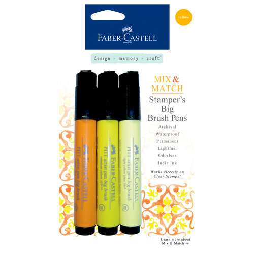 Faber-Castell - Mix and Match Collection - Stampers Big Brush Pens - Yellow - 3 Piece Set