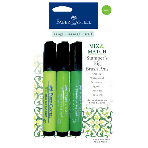 Faber-Castell - Mix and Match Collection - Stampers Big Brush Pens - Green - 3 Piece Set