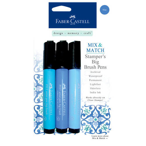 Faber-Castell - Mix and Match Collection - Stampers Big Brush Pens - Blue - 3 Piece Set
