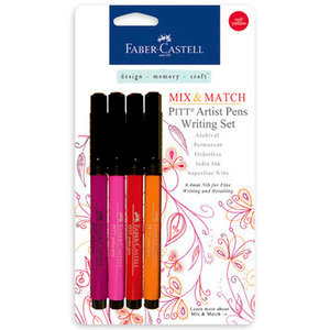 Faber-Castell - Mix and Match Collection - Pitt Artist Pens - Red and Yellow - 4 Piece Set