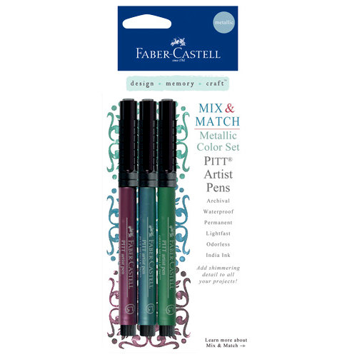 Faber-Castell - Mix and Match Collection - Pitt Artist Pens - Metallic - Color - 3 Piece Set