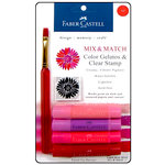 Faber-Castell - Mix and Match Collection - Color Gelatos - Red - 4 Piece Set with Clear Acrylic Stamp