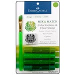 Faber-Castell - Mix and Match Collection - Color Gelatos - Green - 4 Piece Set with Clear Acrylic Stamp