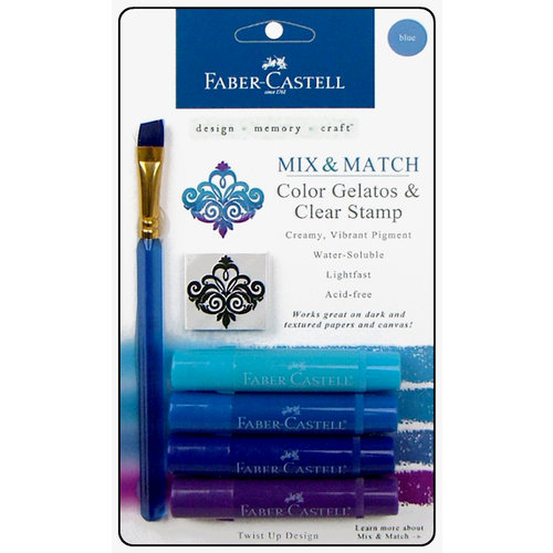 Faber-Castell - Mix and Match Collection - Color Gelatos - Blue - 4 Piece Set with Clear Acrylic Stamp