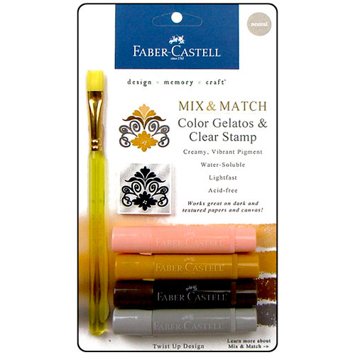 Faber-Castell - Mix and Match Collection - Color Gelatos - Neutrals 2 - 4 Piece Set with Clear Acrylic Stamp