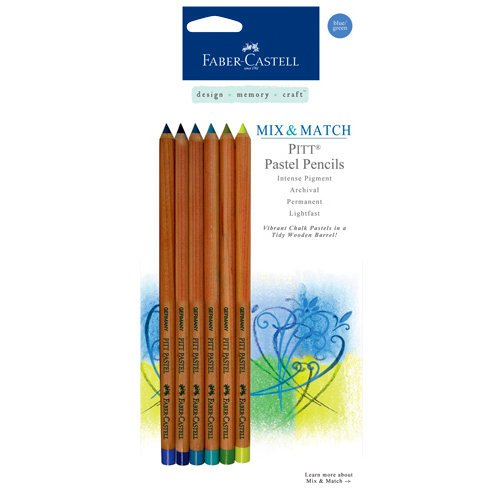 Faber-Castell - Mix and Match Collection - Pitt Pastel Pencils - Blue and Green - 6 Piece Set