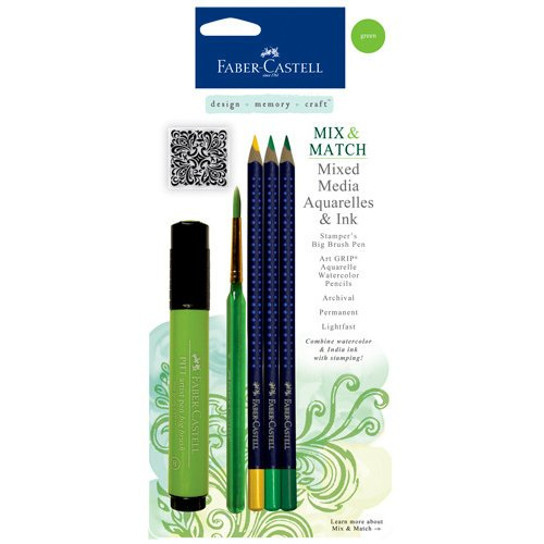 Faber-Castell - Mix and Match Collection - Mixed Media Pencils and Ink - Green - 4 Piece Set