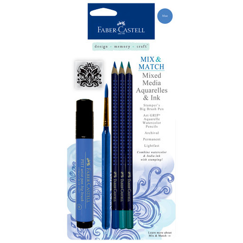 Faber-Castell - Mix and Match Collection - Mixed Media Pencils and Ink - Blue - 4 Piece Set