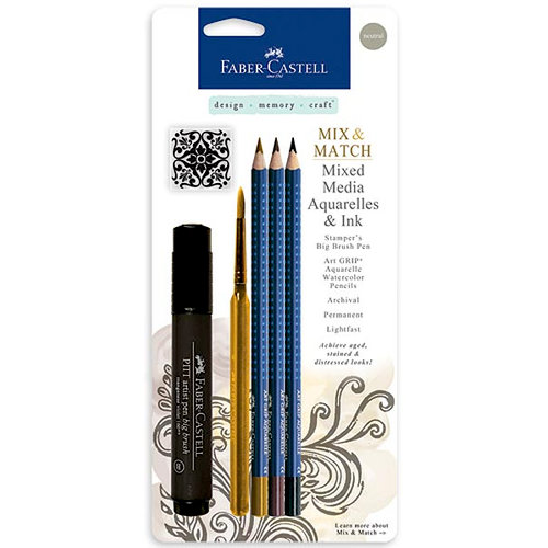 Faber-Castell - Mix and Match Collection - Mixed Media Pencils and Ink - Neutral - 4 Piece Set with Clear Acrylic Stamp