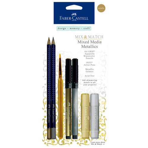 Faber-Castell - Mix and Match Collection - Mixed Media Sampler - Metallics - 7 Piece Set