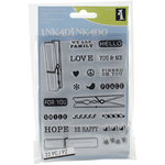 Inkadinkado - Clear Acrylic Stamp Set with Acrylic Block - Cloth Pins