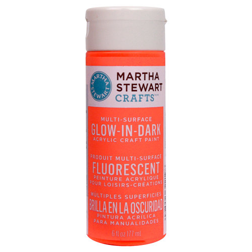 Martha Stewart Crafts - Paint - Glow in Dark Finish - Orange - 6 Ounces