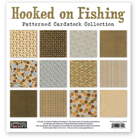 The Paper Loft - Hooked on Fishing Collection - 12 x 12 Patterned Cardstock Pack
