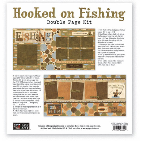 The Paper Loft - Hooked on Fishing Collection - 12 x 12 Double Page Kit - Gone Fishin'
