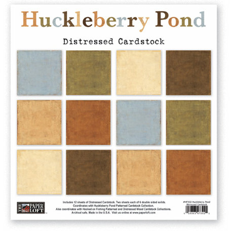 The Paper Loft - Huckleberry Pond Collection - 12 x 12 Distressed Cardstock Pack