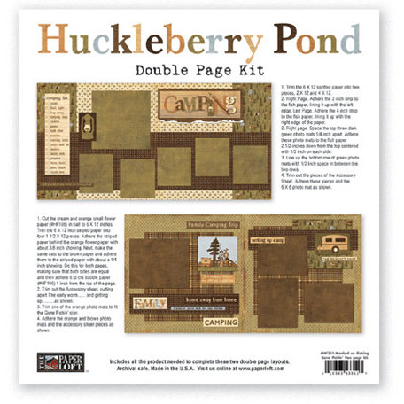 The Paper Loft - Huckleberry Pond Collection - 12 x 12 Double Page Kit - Camping
