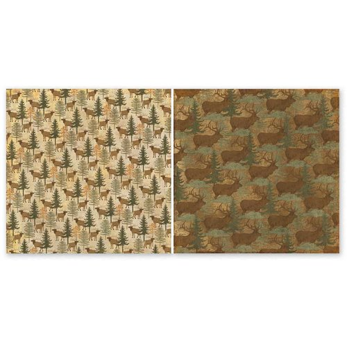 The Paper Loft - Scattered Pine Mountain Collection - 12 x 12 Double Sided Paper - Elk Ridge