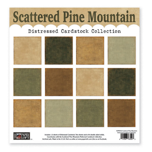 The Paper Loft - Scattered Pine Mountain Collection - 12 x 12 Distressed Cardstock Pack