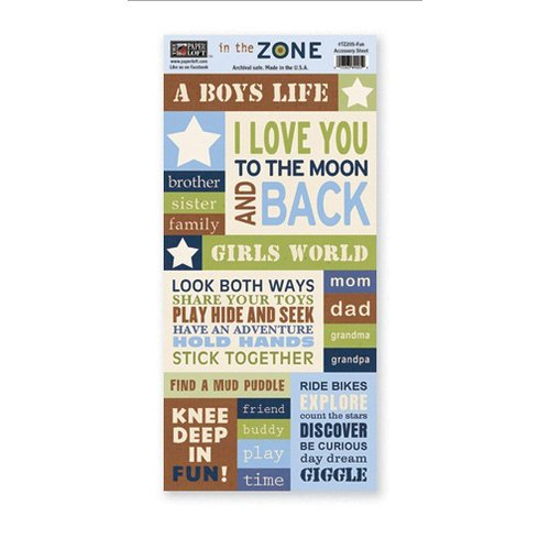 The Paper Loft - In the Zone Collection - Cardstock Pieces - Fun