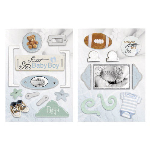 Paper House Productions - Baby Boy Collection - Die Cut Chipboard Pieces - Baby Boy