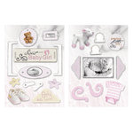Paper House Productions - Baby Girl Collection - Die Cut Chipboard Pieces - Baby Girl