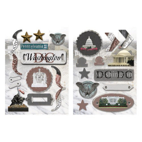 Paper House Productions - Washington DC Collection - Die Cut Chipboard Pieces - Washington DC