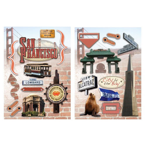 Paper House Productions - San Francisco Collection - Die Cut Chipboard Pieces - San Francisco