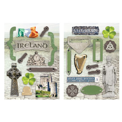 Paper House Productions - Ireland Collection - Die Cut Chipboard Pieces - Ireland