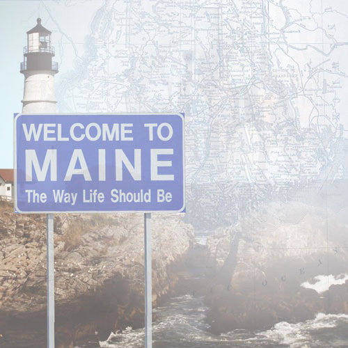 Paper House Productions - Maine Collection - 12 x 12 Paper - Maine Map