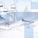 Paper House Productions - Winter Sports Collection - 12 x 12 Paper - Skiing Collage