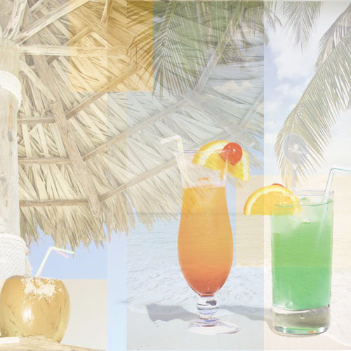 Paper House Productions - Tropical Drinks Collection - 12 x 12 Paper - Tropical Drink Collage