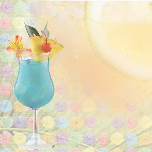 Paper House Productions - Tropical Drinks Collection - 12 x 12 Paper - Blue Hawaiian