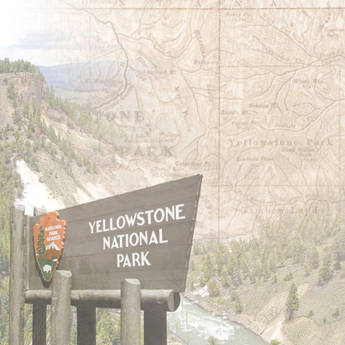 Paper House Productions - Wyoming Collection - 12 x 12 Paper - Yellowstone Map
