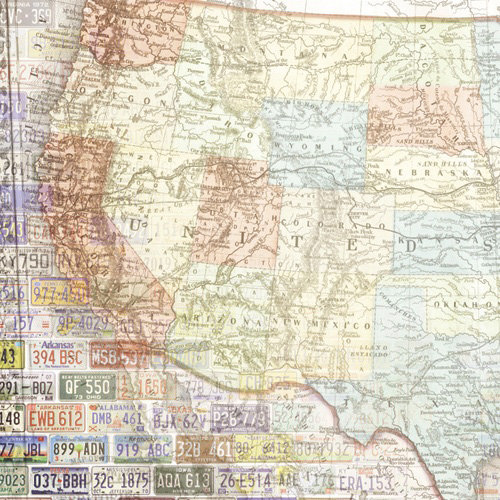 Paper House Productions - Road Trip Collection - 12 x 12 Paper - United States Map - West