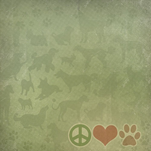 Paper House Productions - Dog Collection - 12 x 12 Paper - Peace.Love.Paw.