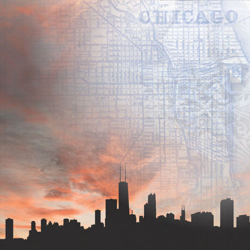 Paper House Productions - Chicago Collection - 12 x 12 Paper - Chicago Skyline