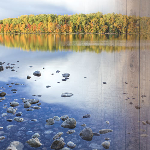 Paper House Productions - Michigan Collection - 12 x 12 Paper - Lake in Fall