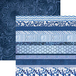 Paper House Productions - Color Ways Collection - Sapphire - 12 x 12 Double Sided Paper - Edgings