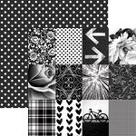 Paper House Productions - Color Ways Collection - Noir - 12 x 12 Double Sided Paper - Mini Trim Cards