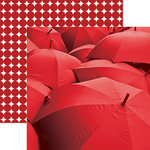 Paper House Productions - Color Ways Collection - Rouge - 12 x 12 Double Sided Paper - Umbrellas