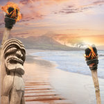 Paper House Productions - Hawaii Collection - 12 x 12 Paper - Tiki at Sunset