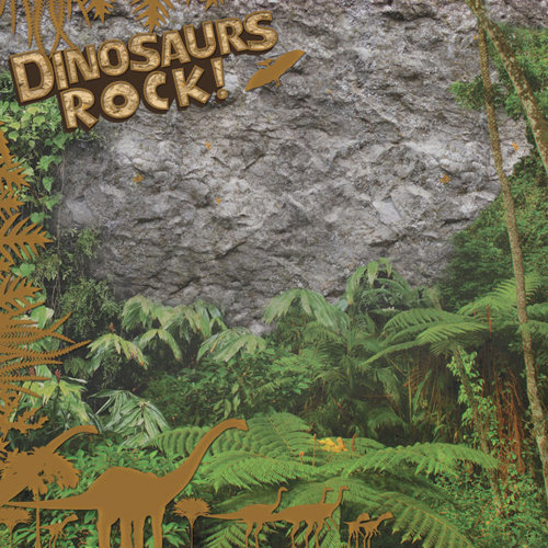Paper House Productions - Dinosaurs Collection - 12 x 12 Paper with Foil Accents - Dinosaurs Rock