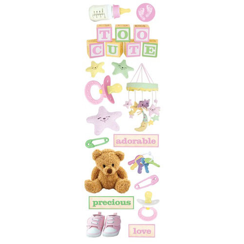 Paper House Productions - Baby Girl Collection - Glitter Rub Ons - Baby Girl