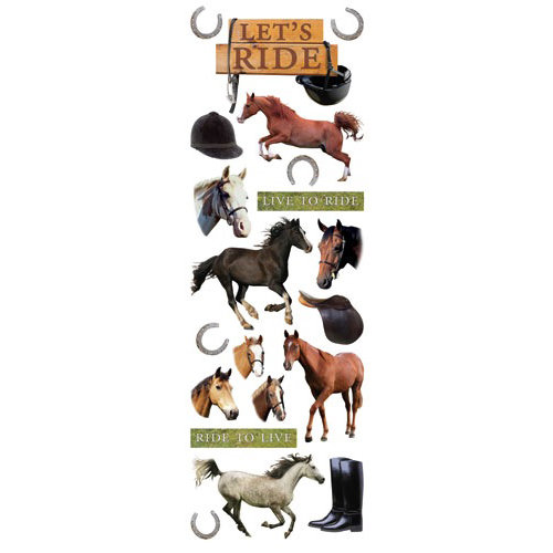 Paper House Productions - Horse Collection - Glitter Rub Ons - Lets Ride