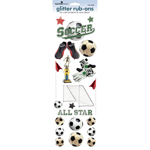 Paper House Productions - Soccer Collection - Glitter Rub Ons - Soccer