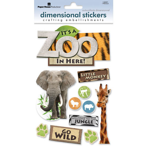 Paper House Productions - Zoo Collection - 3 Dimensional Cardstock Stickers with Epoxy Bling and Glitter Accents - Zoo