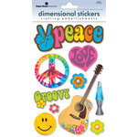 Paper House Productions - Flower Power Collection - 3 Dimensional Cardstock Stickers with Bling and Glitter Accents - Peace