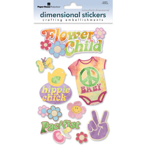 Paper House Productions - Flower Child Collection - 3 Dimensional Cardstock Stickers with Flocked and Glossy Accents - Flower Child