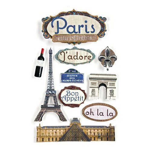 Paper House Productions - Paris Collection - 3 Dimensional Cardstock Stickers with Bling Foil and Glitter Accents - Paris
